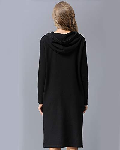 One Lunga Black Size In Maglia Con Uzanesx Size Cappuccio color Donna Da Blue Unita Tinta 1gFq55w7n