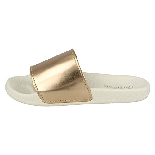 Casual On On Ladies Slip Gold Sandals Spot dTgIqwI