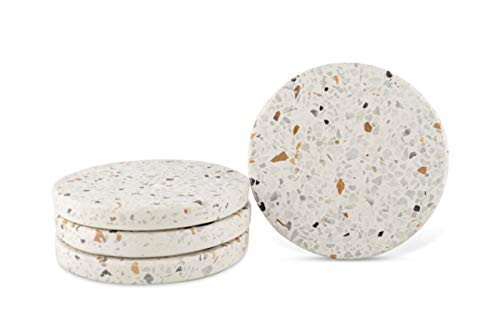 GoCraft Modern Terazzo Coasters | Handcrafted Absorbent Stone Round Coasters for your Drinks, Beverages & Wine/Bar Glasses | Mix Flecks on White Concrete Base (Set of 4) [CC0180-KNK]