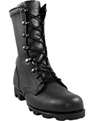 McRae Mens Black Leather Combat Panama Military Boots