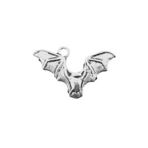 Packet of 10 x Antique Silver Tibetan 25mm Charms Pendants (Bat) - (ZX03345) - Charming (Bat Charms Pendants)