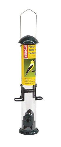Stokes Select Finch Tube Bird Feeder with Four Feeding Ports, Green, 1.3 lb Capacity - 3 Tube Finch Feeder