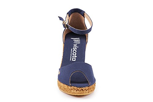 VISCATA Aiguafreda Elegant Comfort, Canvas, Ankle-Strap, Open Toe, Espadrilles with 3-inch Heel Made in Spain Navy