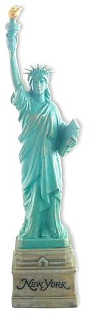 10 Inch Statue of Liberty Statue, Green with Brown New York Base - Polyresin Base