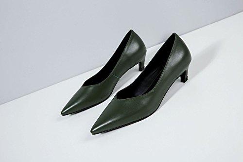 AJUNR Moda/elegante/Transpirable/Sandalias Zapatos de mujer solo zapatos punta Liviano Delgado con un verde oscuro 4cm 35 inferior y superior 34