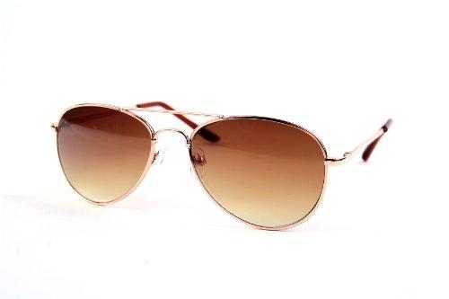 Children Metal Classic Aviator Color Lens Sunglasses (Gold-Brown)