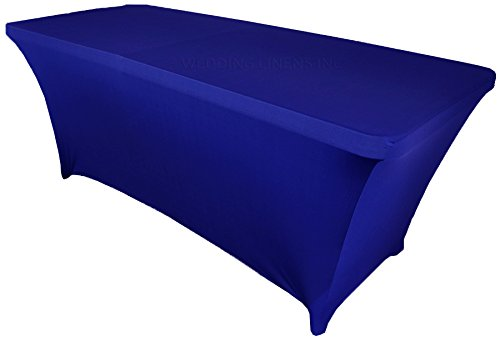 Wedding Linens Inc. Wholesale (200 GSM) 6 FT Rectangular Spandex Stretch Fitted Table Cover Tablecloths Royal Blue