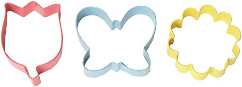 Wilton 3-Piece Flower, Colored Cookie Cutter Set