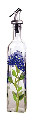 Grant Howard Hand Painted Square Cruet with Pourer, Blue Hydrangeas, 16 oz, Blue