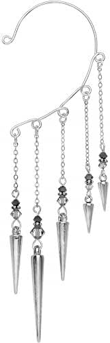 Body Candy Hand Crafted Sterling Silver Dangle Dagger Ear Cuff Wrap Created with Swarovski Crystals