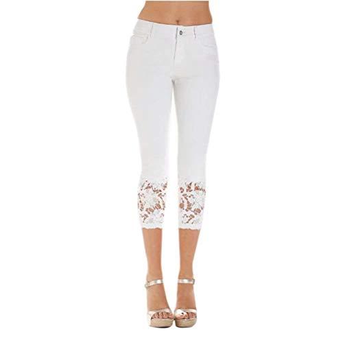 In Tasche Unita Mode Marca Bianca Bolawoo Alta Vita Casual Fit Leggings Anteriori Donna Tinta Pizzo A Jeans Pulsante Pantaloni 7 Di Slim 8 wtAwpxTqI