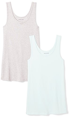 Amazon Essentials Women's 2-Pack Tank, Aqua/Light Grey Heather, Medium by Amazon Essentials