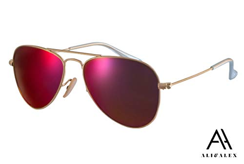 Ali&Alex Classic Metal Aviator 100% UV Polarized Adult Unisex Designer Sunglasses