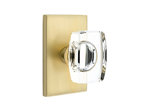 Emtek Products Crystal Knob - Passage Set, Modern Rectangle Rosette, Modern Windsor Crystal Knob, Satin Brass