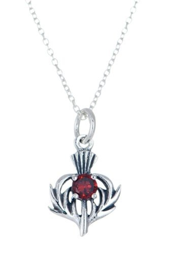 925 STERLING SILVER THISTLE SHAPE PENDANT NECKLACE WITH JANUARY BIRTH STONE