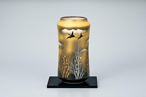 "Japanese drawn Ceramic Porcelain kutani ware. Japanese Ikebana flower vase with a stand. Gold crowd and forest."" Japanese ceramic Hagiyakiya 1024"