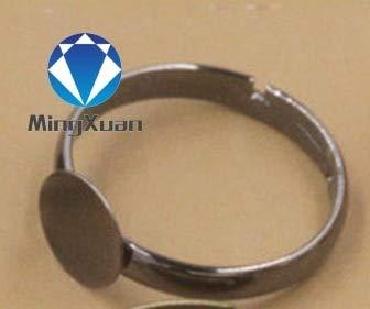 (Jammas 20pcs/lot Adjustable Ring Settings 6/8/10mm Round Blank Base Trays Bezel for Cabochon Cameo DIY Fashion Rings Making - (Color: Gun Black, Size: 8mm Blank)