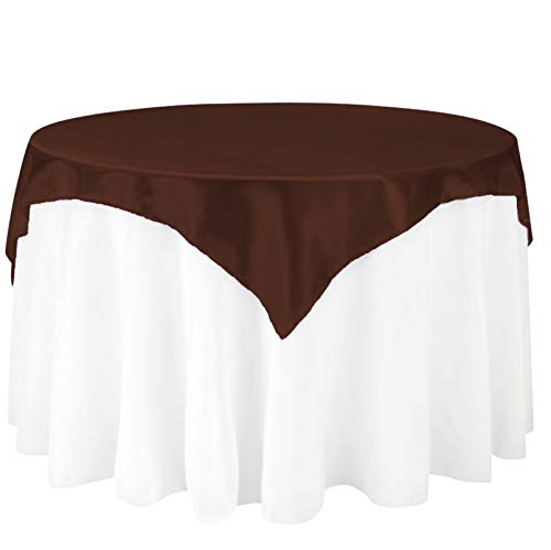 LinenTablecloth 72-Inch Square Satin Overlay Chocolate ()
