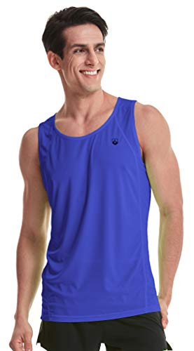 Ultra Singlet - Leevy Running Singlet for Men Ultra Lightweight Beach Tank Top Dry Fit Sleeveless Workout Shirt(US X-Small=Tag L Navy)
