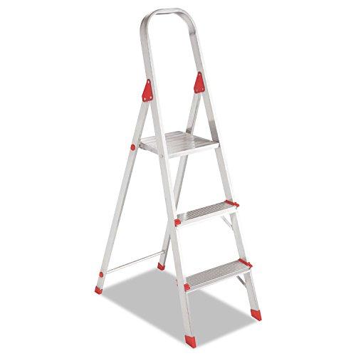 Louisville L234603 #566 Folding Aluminum Euro Platform Ladder, 3-Step, Red (Platform 566 Aluminum Euro Ladder)