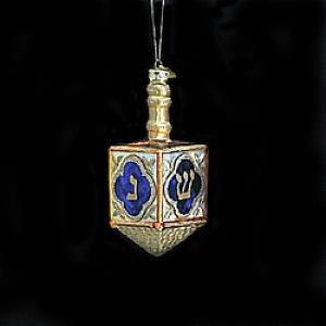 Kurt Adler 4-Inch Noble Gems Glass Jewish Dreidel Ornament
