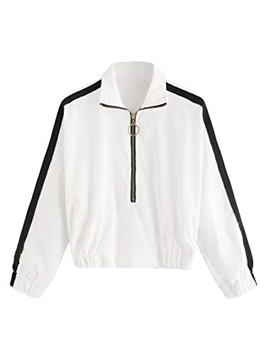 (Romwe Women's Casual Long Sleeve Striped Pullover Zipper Corduroy Sweatshirt White Small)