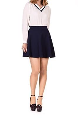 Basic Solid Stretchy Cotton High Waist A-line Flared Skater Mini Skirt