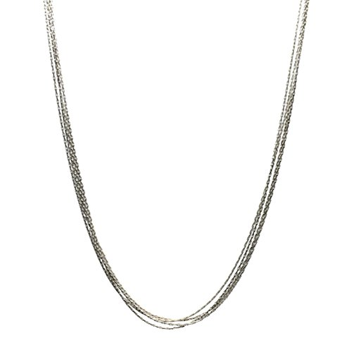 Multi-Strand Sterling Silver Chain Necklace Adjustable 16-18 Extender Inch ()