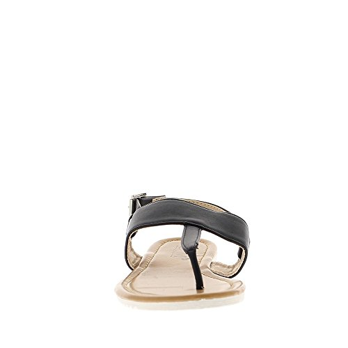 Sandalias negras plano con entre-doigts