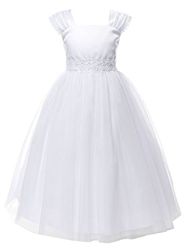 iGirldress Big Girls' Cap Sleeved First Holy Communion Flower Girl Dress 12 White