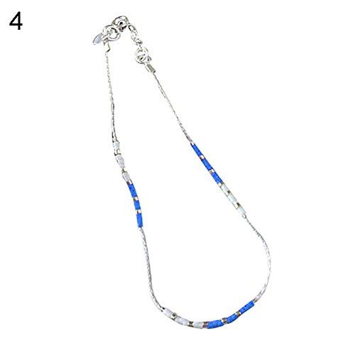 - 856store Women Bright Color Beaded Ankle Bracelet Barefoot Chain Sandal Jewelry Anklet Sapphire Blue