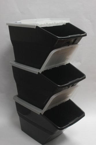 Wtm Bbcl Three Pack Of Stackable Bins With Hinged Lids 24