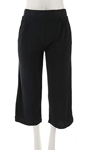H Halston Knit Cropped Wide Leg Pants Black 2X New A303207 from H by Halston