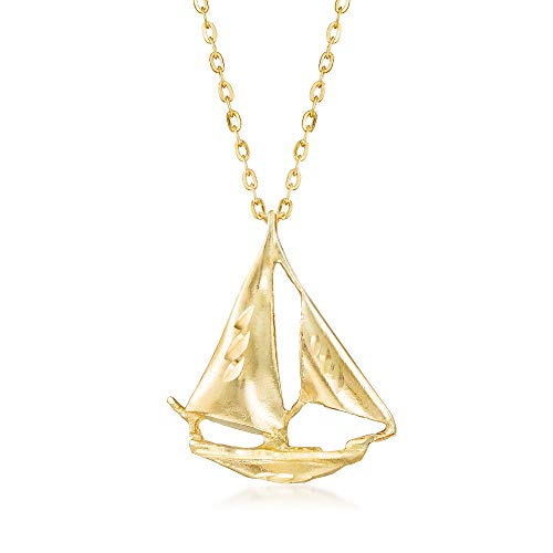 Ross-Simons 14kt Yellow Gold Sailboat Pendant Necklace