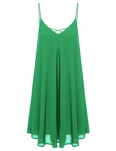 ROMWE Women's Summer Spaghetti Strap Sundress Sleeveless Beach Slip Dress Green (Straps Chiffon Dress)