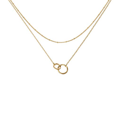 Fettero Delicate Infinity Necklace, Gold Infinity Layering, Forever Love Friendship Mother and Daughter Family Necklace Jewelry