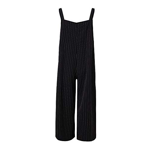Morecome,Women Strap Side Pockets Wide Legs Pants Striped Baggy Autumn Dress Jumpsuits