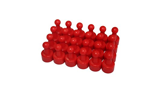 USKYMAG 24 Solid Magnetic Push Pins, Pawn Style--Perfect and Powerful Magnets for Fridges, Maps, Whiteboards, Cabinets (red)
