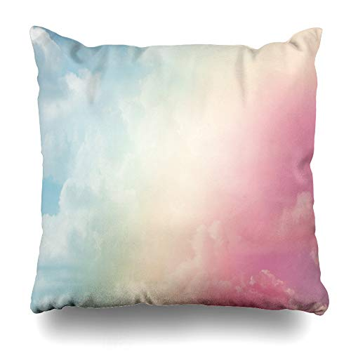 Ahawoso Throw Pillow Cover Square 18x18 Orange Blue Unicorn Sun Cloud Pastel Colored Nature Rainbow Abstract Bright Cloudscape Cloudy Color Design Zippered Cushion Case Home Decor Pillowcase