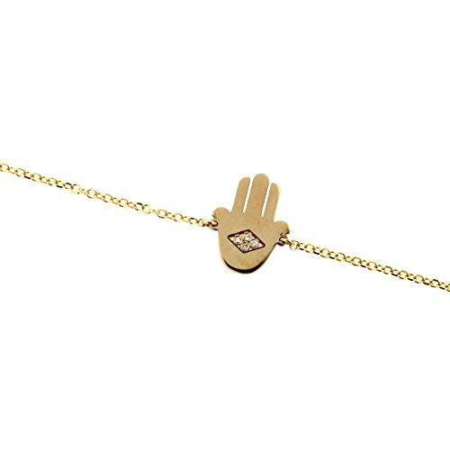 18K Yellow Gold Four Diamonds Center Hamsa Bracelet 7 inches by Amalia