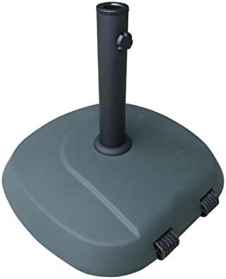Christopher Knight Home Leon Outdoor 59.5lb Concrete Circular Umbrella Base with Aluminum Collar, Dark Green