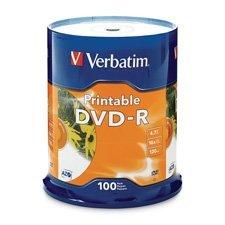 DVD-R, 16x, 4.7GB, Inkjet Printable, 100/PK, White, Sold as