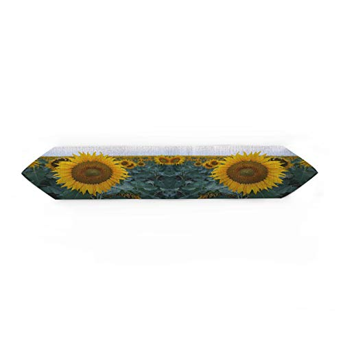 - Linen Burlap Table Runner Dresser Scarves, Sunflower Garden Kitchen Table Runners for Dinner Holiday Parties, Wedding, Events, Decor - 13 x 90 Inch