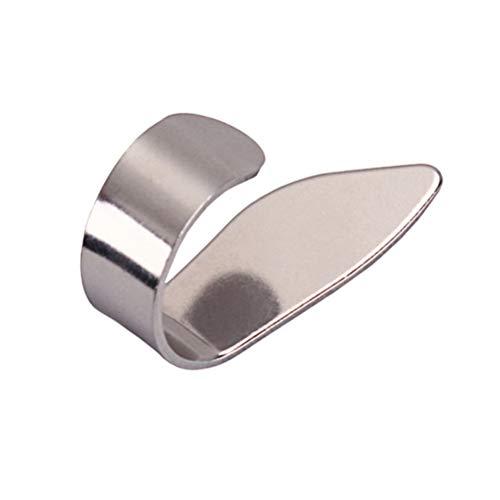 (HEALLILY Guitar Thumb Finger Picks Stainless Steel Right Plectrums Slide for Acoustic Guitar Banjo Ukulele (Silver) LA03B)