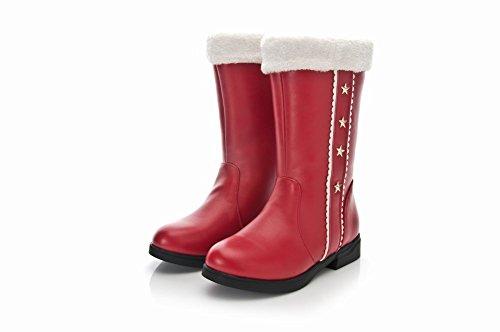 Latasa Dames Star Studded Flat Kort Winterlaarzen Rood