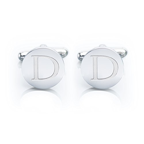 Men's 18K White Gold-Plated Engraved Initial Cufflinks with Gift Box– Premium Quality Personalized Alphabet Letter (D - White (Cuff Gold Plated Cufflinks)