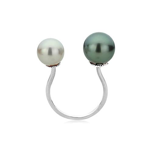 14K Gold Pearl Open Ring Natural Color South Sea Cultured Tahitian Black Pearl Ring (Size 4 to 11), 7