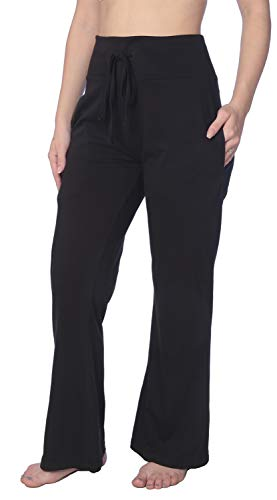 Women's Long Leg Jersey Knit Pajama Lounge Pant Available in Plus Size HWLP01_19 Black 2X
