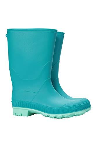 (Mountain Warehouse Plain Kids Wellies - Durable Rain Boots for School Teal 5 Child US)
