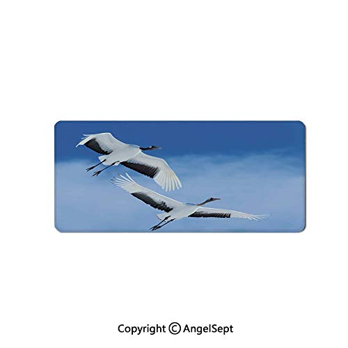 Large Gaming Mouse Pad with Durable Stitched Edges, Non-Slip Rubber Base, Mouse Mat for Office/Computer/Laptop-Bird,Two Red Crowned Crane with Open Wings Flying in Clear Sky Japanes,16